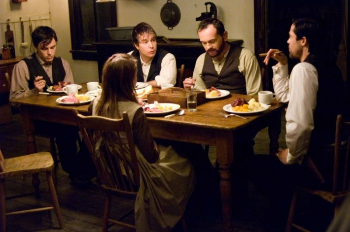 L-r-CASEY-AFFLECK-as-Robert-Ford-SAM-ROCKWELL-as-Charley-Ford-PAT-HEALY-as-Wilbur-Ford-and-BRAD-PITT-as-Jesse-James-in-Warner-Bros.-Pictures-and-Virtual-Studios-drama-The-Assassination-of-Jesse-James-by-
